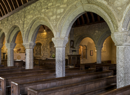 evangelism: Zennor, England - April 26, 2017: Interior of the church of Zennor with pillars, Saint Senara Church.