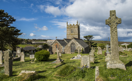 Zennor, England - April 26, 2017: Graveyard of the church of Zennor, Saint Senara Church, Cornwall.