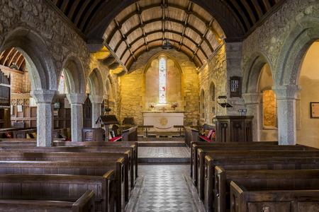 evangelism: Zennor, England - April 26, 2017: Interior of the church of Zennor, Saint Senara Church. Editorial