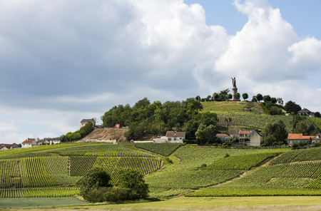 Chatillon-sur-Marne in the Champane district with vineyards on the hills and statue of Urbanus II.