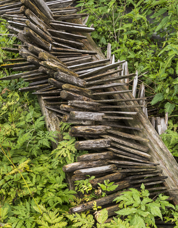 stakes: Fallen pile of Hay Stakes  in at a barn in Montafon, Austria. Stock Photo