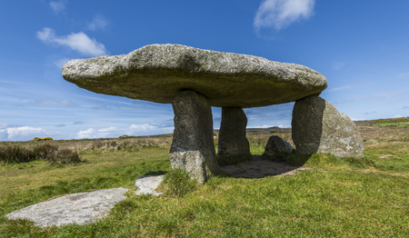 Dolmen Lanyon Quoit in near Morvah in Cornwall on a summers day.