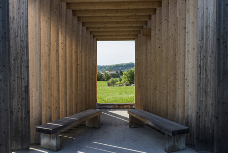 obscura: Krumbach, Austria - July 22, 2017: Busstop by architect Bus Stop Bregenzerwald, Amateur Architecture Studio,  Krumbach, Bregenzer Wald, Austria.