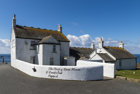 Lands End, England - April 27, 2017: Lastfirst house and cafe at Lands End in summer with blue sky.