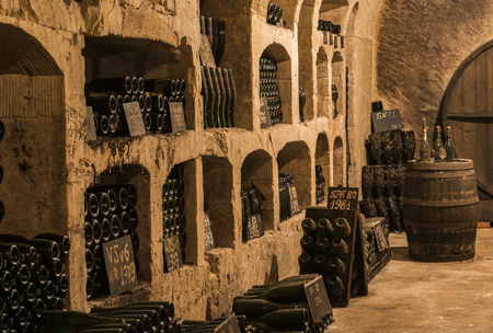 Epernay, France - June 10, 2017: Old champagne caves with 'pupitres' at the Champagne House Castellane, France.