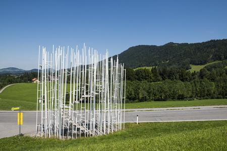 Krumbach, Austria - July 22, 2017: Busstop by architect Sou Fuijmoto in Krumbach, Bregenzer Wald, Austria.