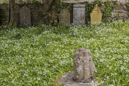 Pendeen, England - April 26, 2017: Cemetery with gravestone in Pendeen, Cornwall, England. Editorial