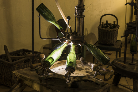 Epernay, France - June 10, 2017: Old champagne wine making tool at the Champagne House Castellane, France.