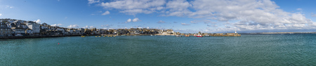 Saint Ives, England - April 27, 2017: Panorama of Saint Ives wit ocean, boats and harbor. Editorial