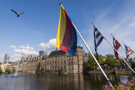 the hague: The Hague, The Netherlands - August 6, 2017: Parliament buildings of the Netherlands, some flags of the provinces and in front the pond the Hofvijver.