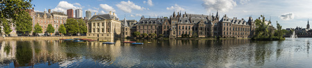 The Hague, The Netherlands - August 6, 2017: Museum Mauritshuis, the Torentje of prime minister and parliament of the Netherlands, in front the pond the Hofvijver.