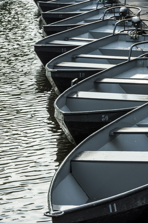 Black Punter Boats in the small, picturesque town of Giethoorn, Overijssel, Netherlands. Stock Photo