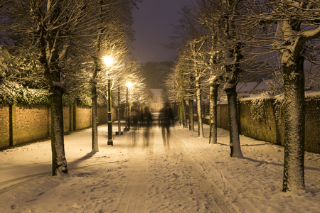 Wijk bij Duurstede, Netherlands - December 11, 2017: Mazijk street in december during Xmas and winter blizzard with houses, lanterns and snow.