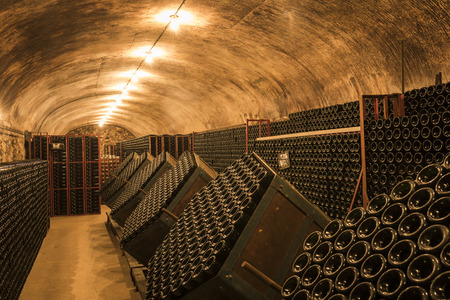 Hautvillers, France - August 11, 2017: Champagne caves and cellars with champagne bottles in Hautvillers near Reims and Epernay.