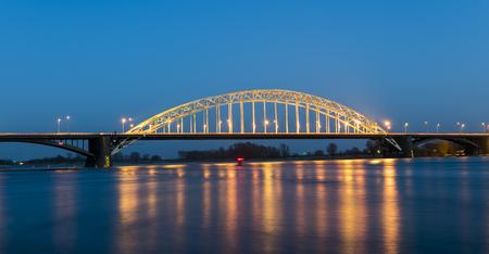 Waal bridge at Nijmegen at night.
