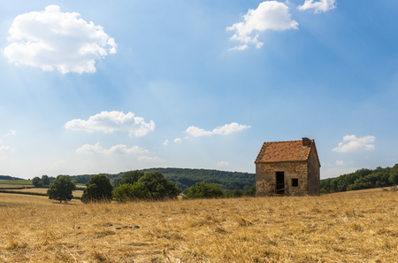 Lonely, old shed on a corn field in the Morvan, France. Stock Photo