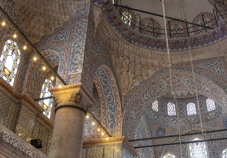 Istanbul, Turkey - April 29, 2019: Colorful ceiling of the old famous islamic Blue Mosk in Istanbul, Turkey. Redakční