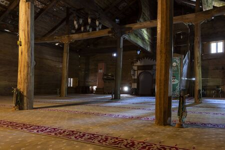 Carsamba, Turkey - May 4, 2019: Wooden interior of the old wooden mosk Gogcelli Camii in Turkey.
