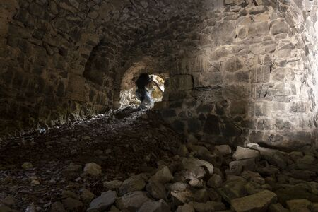 Vazelon, Turkey - May 6, 2019: Ma in destoyed and abandoned monastery of Vazelon in the mountains of Turkey. Redactioneel