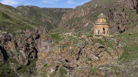 Beskilise, Turkey - May 10, 2019: The abandoned and destroyed Armenia church of Beskilise in the mountains, Turkey