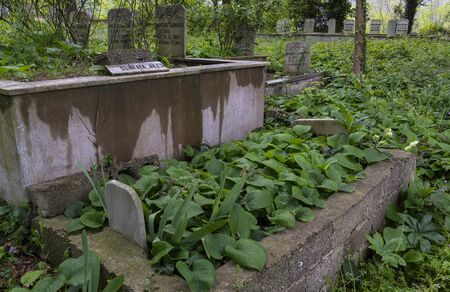 Alapinar, Turkey - May 2, 2019: Islamic graveyard wit a few graves with plants and tombstones.