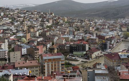 Bayburt, Turkey - May 6, 2019: Veiw of the town of Bayburt in Turkey with houses, flats and mosques.