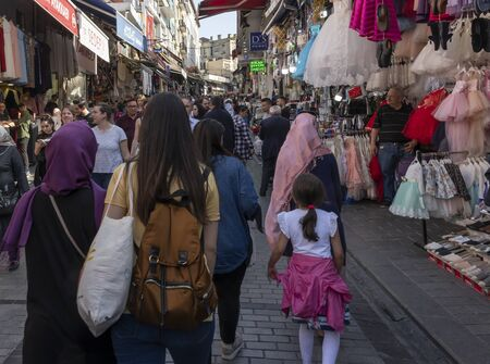 Instanbul, Turkey - April 29, 2019: People in the centre of Istanbul with shops and shopping people and tourists. Redactioneel