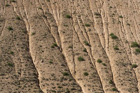 Eroded clored pattern hill at Zajan dry valley in Iran during springtime.