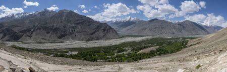 Panorama at Langar in the Wakhan Corridor with the Panj river in Tajikistan.