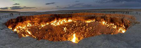 Panorama of th fire of the Darwaza (Derweze) gas crater in the Karakum Desert in Turkmenistan.