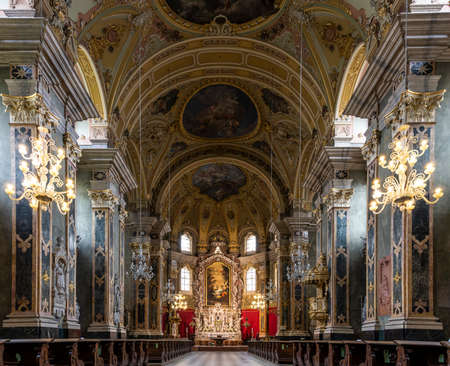 Brixen, Italy - October 5, 2020: Interior of the Dom Cathedral church of Brixen with the baroque architecture and altar.