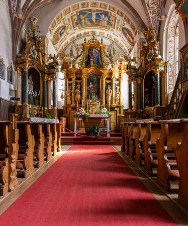 St Magdalena, Italy - October 6, 2020: Interior of baroque church Santa Magdalena in the Dolomites in Südtirol, Italy.