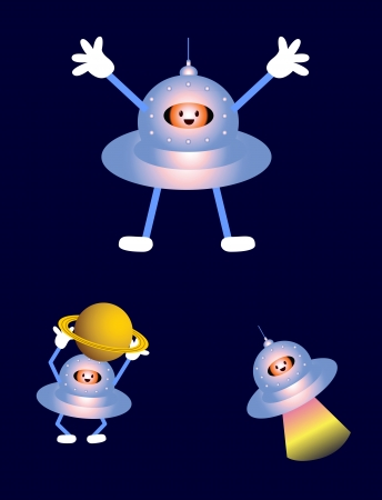 extra terrestrial: UFO and cute aliens