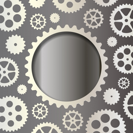 White gears on a dark background Vector