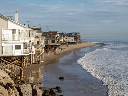 beach front: A row of beach front homes enjoying the warm California sun.