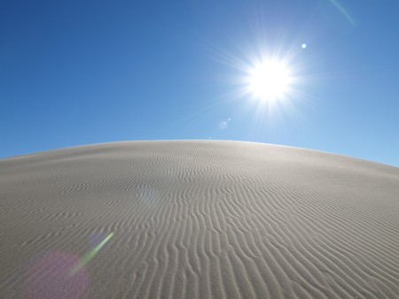 Blazing sun at Dumont Dunes in the California Mojave Desert. Stock Photo - 4260428