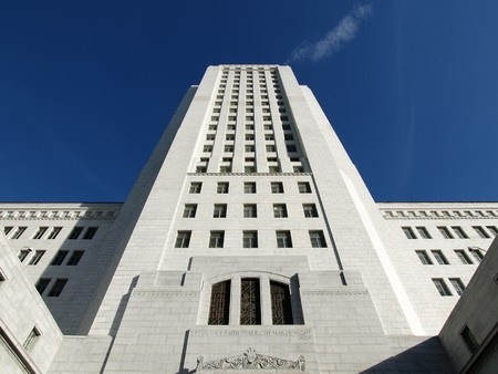 Up view of Los Angeles City Hall historic tower. Stock Photo - 4260427