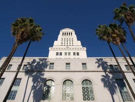 'city hall': Palm trees frame the historic Los Angeles City Hall.