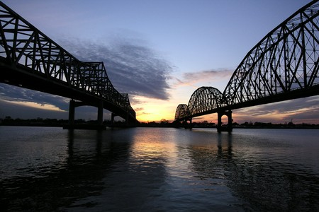 Double bridges at sunset in Morgan City Louisiana. Stock Photo - 4295213