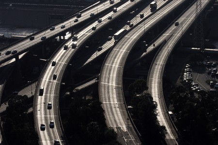aerial city: aerial view of santa monica freeway in