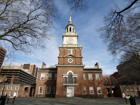 Brick clock tower at historic Independence Hall National Park in Philadelphia Stock Photo