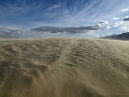 Moving sand on top of Olancha Dunes in the Mojave desert.