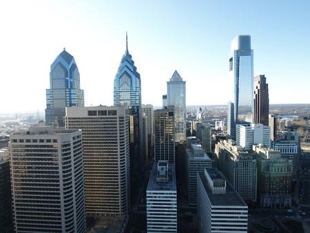 Urban inner city section of downtown Philadelphia.