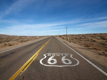 Historic Route 66 crossing the Mojave Desert in California photo