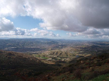 View of Simi Valley in dramatic afternoon light. Stock Photo