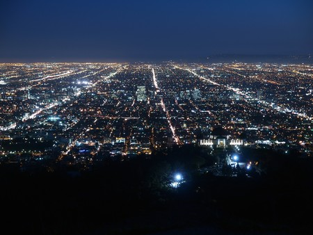 city lights: A billion city lights glow brightly in Los Angeles.