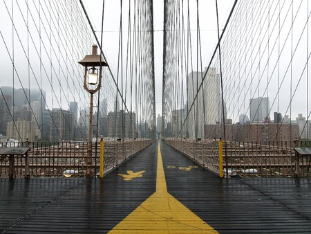 Brooklyn bridge walkway on a quiet foggy morning. Stock Photo - 4560247
