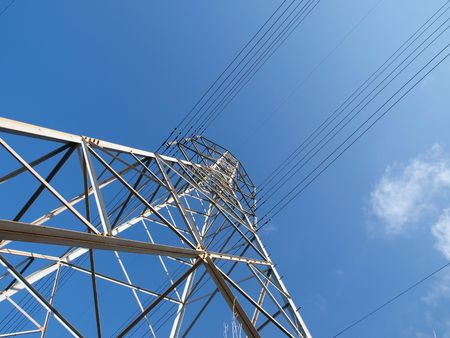 electric grid: Electric power tower on a sunny California day.