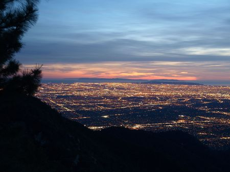 Los Angeles and Catalina Island glowing after sunset. Stock Photo - 4855580