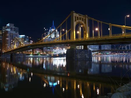 Pittsburgh skyline, Ohio River and bridges at night. photo
